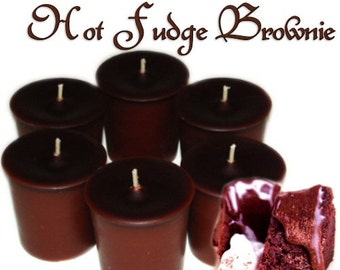 6 Hot Fudge Brownie Votive Candles Rich Chocolate Scent Handmade