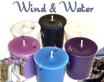 6 Wind & Water Votive Candles Variety Pack Fresh Clean Water Scents