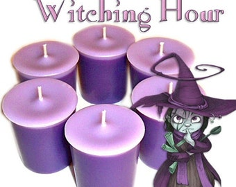 6 Witching Hour Votive Candles Tea Citrus and Patchouli Scent