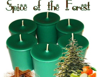 6  Spice of the Forest Votive Candles Spicy Fruity Pine Scent Handmade