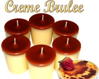 6 Creme Brulee Votive Candles Creamy Vanilla Scent
