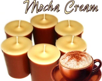 6 Mocha Cream Votive Candles Coffee and Chocolate Scent