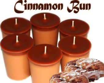 6 Cinnamon Bun Votive Candles Spicy Bakery Scent Handmade