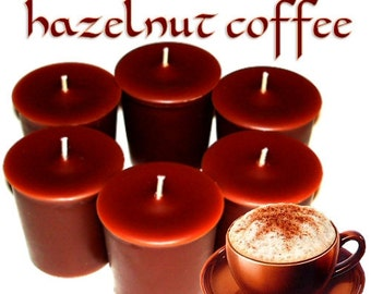 6 Hazelnut Coffee Votive Candles Coffee Scent