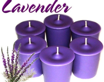 6 Lavender Votive Candles Aromatherapy Scent