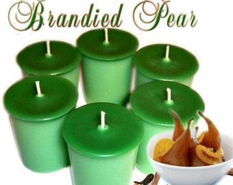 6 Brandied Pear Votive Candles Rich Fruit Bakery Scent