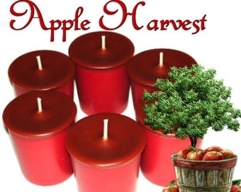 6 Apple Harvest Votive Candles Spicy Apple Scent