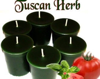 6 Tuscan Herb Votive Candles Fresh Herbal Tomato Garden Scent