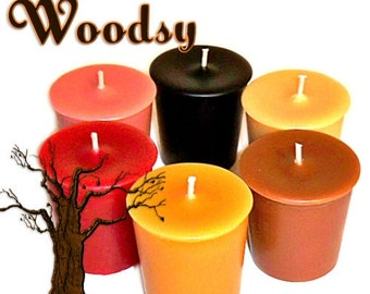 6 Woodsy Variety Votive Candles Earthy Scents Assortment