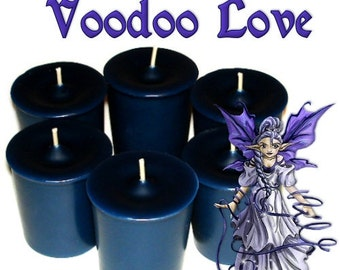 6 Voodoo Love Votive Candles Jasmine Lily and Coconut Scent