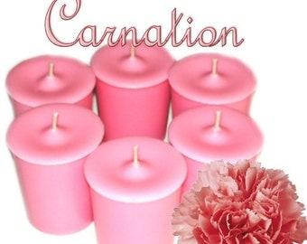 6 Carnation Votive Candles Sweet Floral Scent