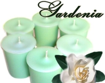 6 Gardenia Votive Candles Fresh Floral Scent