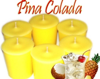 6 PIna Colada Votive Candles Pineapple Coconut Scent
