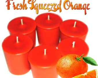 6 Fresh Squeezed Orange Votive Candles Refreshing Citrus Scent