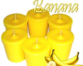 6 Banana Votive Candles Fresh Fruit Scent
