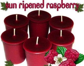 6 Sun Ripened Raspberry Votive Candles Summer Berry Scent