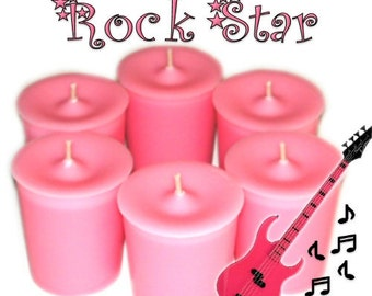 6 Rock Star Votive Candles Fresh Fruity Floral Sweet Scent
