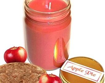 Apple Pie Mason Jar Candle Fruit Bakery Scent 12 Oz Handmade