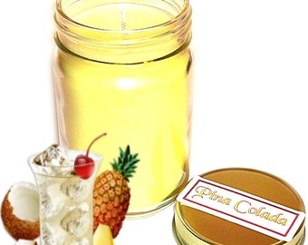 Pina Colada Mason Jar Candle Pineapple Coconut Scent 12 Oz Handmade