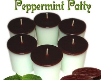 6 Peppermint Patty Votive Candles Chocolate Mint Scent