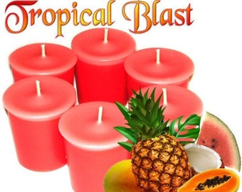 6 Tropical Blast Votive Candles Exotic Fruit and Coconut Scent