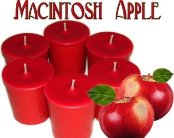 6 Macintosh Apple Votive Candles Fresh Apple Scent
