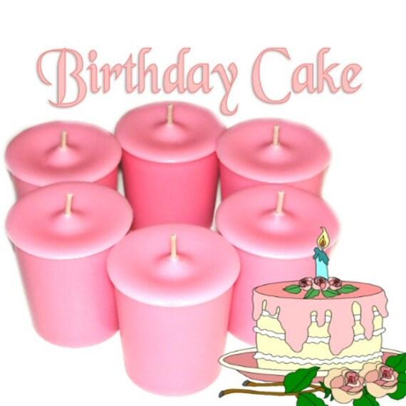 6 Birthday Cake Votive Candles Vanilla Scent