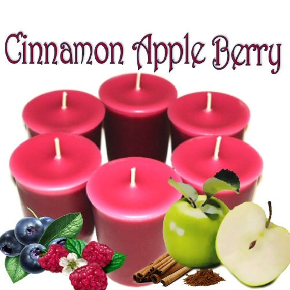 6 Cinnamon Apple Berry Votive Candles Fruit and Spice Scent