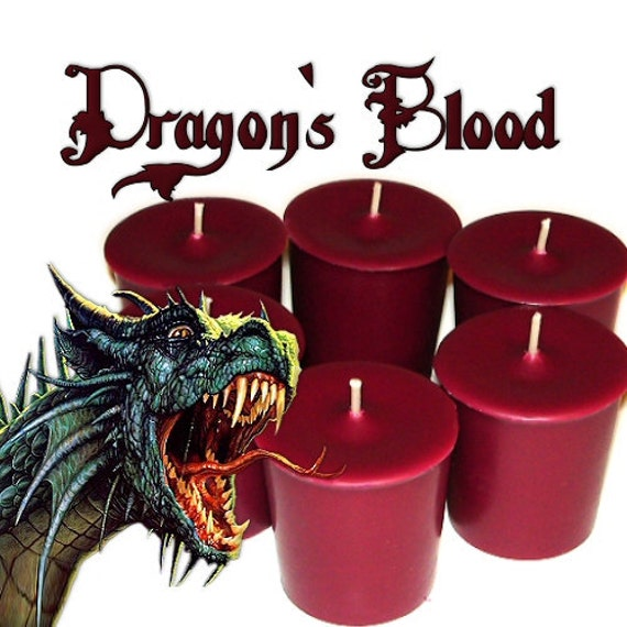 6 Dragons Blood Votive Candles Berry and Plum Scent