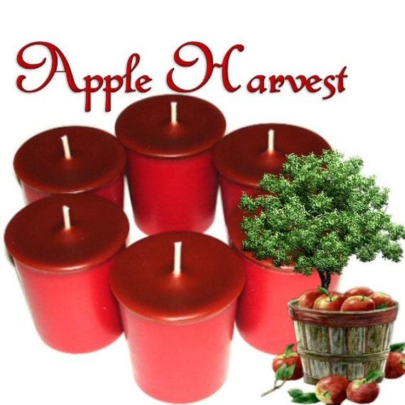 6 Apple Harvest Votive Candles Spicy Apple Scent