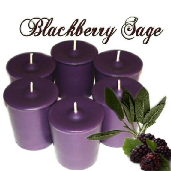 6 Blackberry Sage Votive Candles Herbal Berry Scent