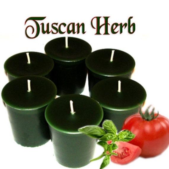 6 Tuscan Herb Votive Candles Fresh Herbal Tomato Garden Scent