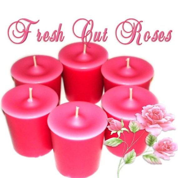 6 Fresh Cut Roses Votive Candles Floral Scent