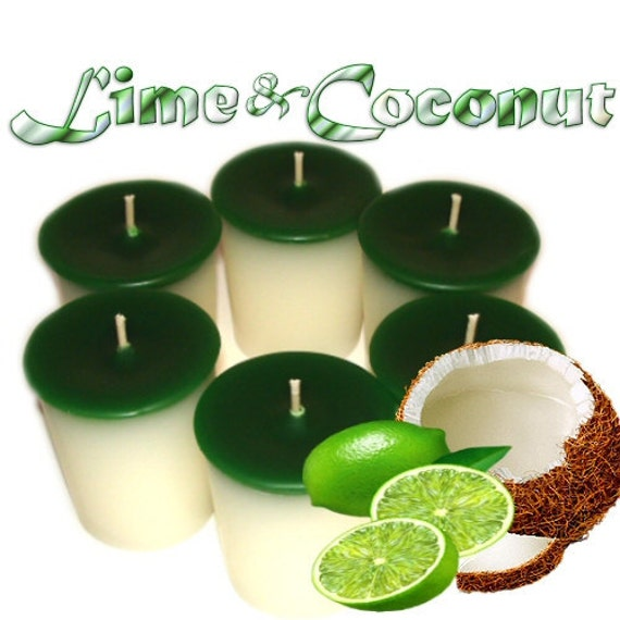 Lime and Coconut Votive Candles Refreshing Tropical Scent