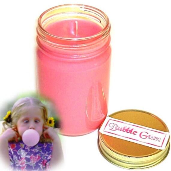 Bubblegum Mason Jar Candle Kid Favorite Scent 12 Oz Handmade