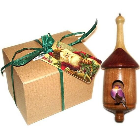 Birdhouse Christmas Tree Ornaments : Mini birdhouse christmas tree ornament wood gift wrapped