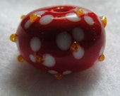 Cherry Blossoms Focal Round Bead Handmade lampwork by ChristyLDesigns