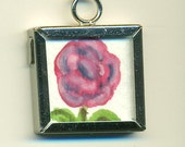 Original Watercolor and Drawing, double sided pendant,