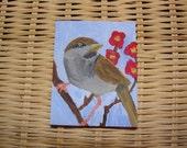 Tiny Bird miniature oil painting, Christy Leonard, ChristyL Designs