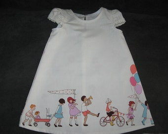 Custom Girl Dress Sarah Jane Fabric Children on Parade Sizees1 to 4 Toddler