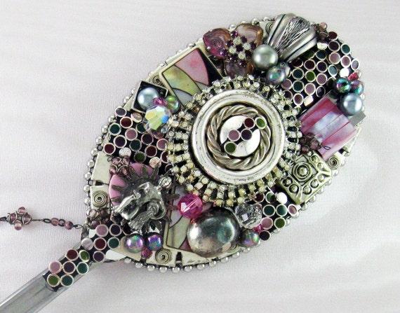 SALE 25% OFF - Hand Mirror - Age of Aquarius - Repurposed Jewelry - M000632