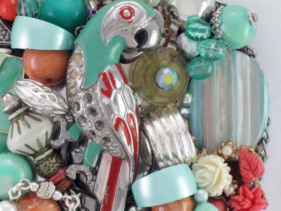 Reserved for SISTERS SUITCASE - Hand Mirror - Recycled Parrot in Paradise - Repurposed Jewelry - M000669