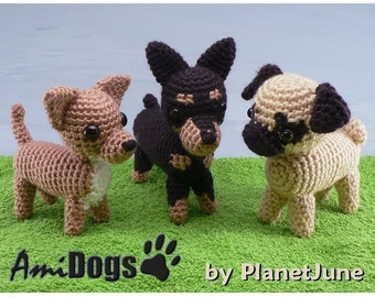 PDF Special Deal - AmiDogs (Set 4) 3 amigurumi dog CROCHET PATTERNS
