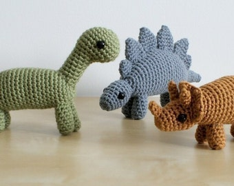 Dinosaurs Set 1 - three amigurumi PDF CROCHET PATTERNS Stegosaurus Brachiosaurus Triceratops