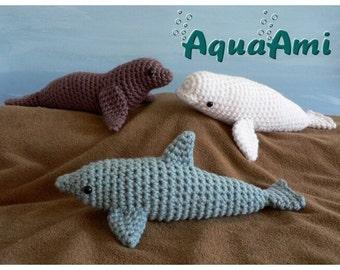 PDF Special deal - AquaAmi Set 1 - Dolphin, Sea Lion, Beluga Whales amigurumi CROCHET PATTERNS