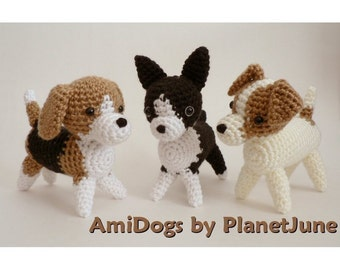 PDF Special Deal - AmiDogs (Set 2) 3 amigurumi dog CROCHET PATTERNS