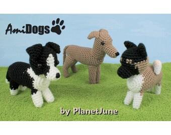 PDF Special Deal - AmiDogs (Set 6) 3 amigurumi dog CROCHET PATTERNS