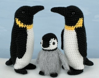 PDF Emperor Penguin Family (adult & baby) amigurumi CROCHET PATTERNS