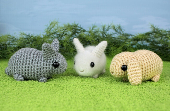 Amigurumi Rabbit : PDF Baby Bunnies three amigurumi bunny rabbit CROCHET