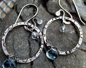 Rustic Sky Earrings - Sterling Silver with Blue Topaz Gemstones